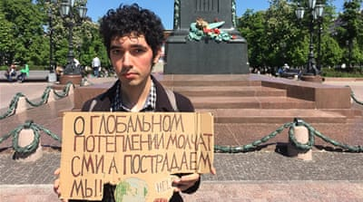 Moscow's lone climate protester: 'We need to talk about it now'