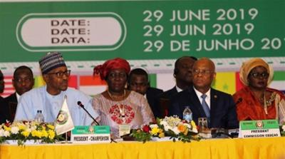 H.E. Muhammadu Buhari, Chair of ECOWAS Authority of Heads of State and Government and Jean-Claude Kassi Brou of the ECOWAS Commission. Abuja, 29th June 2019 [ECOWAS]