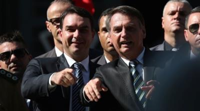 Brazilian President Jair Bolsonaro and his son and Senator Flavio