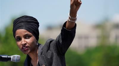 A defiant Omar has called the US president 'fascist' after his racist comments [Aaron P Bernstein/Reuters]
