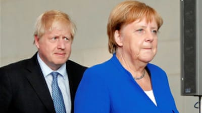 What is Boris Johnson doing in Germany and France?