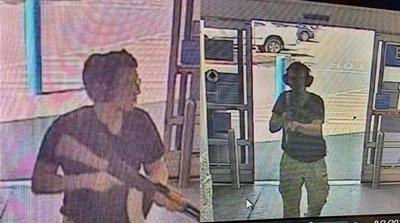 This CCTV image obtained by KTSM 9 news channel shows the gunman identified as Patrick Crusius, 21 years old, as he enters the Cielo Vista Walmart store in El Paso on august 3, 2019. A gunman armed wi