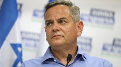 Chairman of Meretz Party, Nitzan Horowitz  during a press conference with former Israeli Prime Minister Ehud Barak and Labor Party member Stav Shafir (both unseen) in Tel Aviv, Israel, 25 July 2019. T