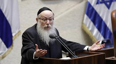 Ultra orthodox Jewish Deputy Minister of Health Yaakov Litzman speaks at the Knesset plenum during a debate on  the dissolution of the Knesset (Israeli parliament) in Jerusalem, 29 May 2019. According