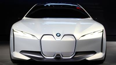 The BMW all electric i Vision Dynamics concept car is displayed at the Los Angeles Auto Show [Reuters/Mike Blake]