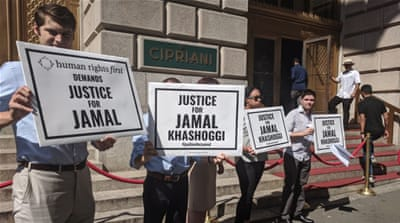 Protesters demand 'Justice for Jamal' outside MBS charity event