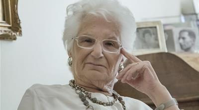 Liliana Segre, an Italian Holocaust survivor under police protection