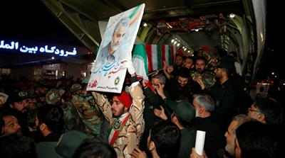 Iranian mourners carry the coffin of the Iranian Major-General Qassem Soleimani, head of the elite Quds Force, who was killed in an air strike at Baghdad airport, at Ahvaz international airport, in Ah