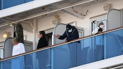 About 3,600 people quarantined on the Diamond Princess cruise ship [Charly Triballeau/AFP]