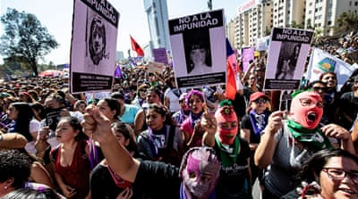 Feminist groups hold mass Women's Day marches across Chile