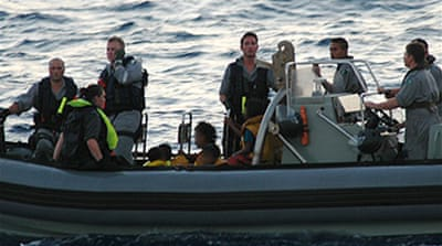 Australian navy in boat rescue