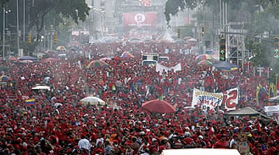 Chavez leads massive rally