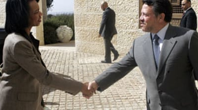 Rice holds meetings in Jordan