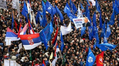 Serbs protest over Kosovo status