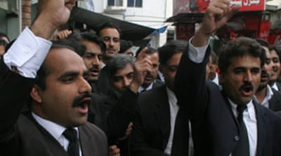 Lawyers protest against Musharraf