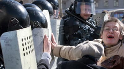 Russia police stop opposition rally