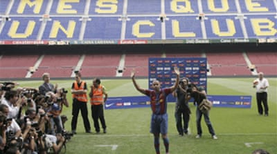 Henry unveiled by Barca
