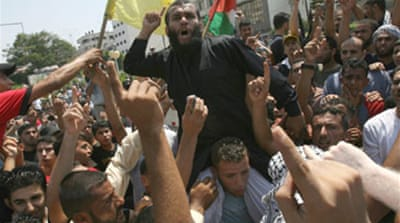 Rivals battle at Gaza protest