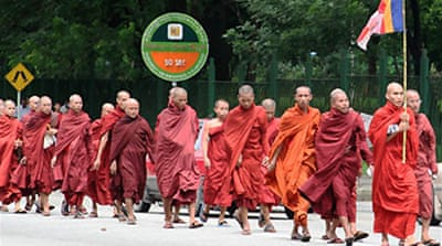 Monks lead Myanmar protests