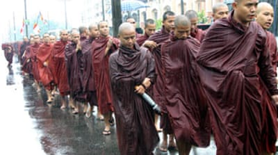 Monks step up Myanmar protests