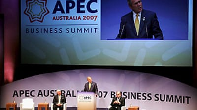 Bush urges greater Asian democracy