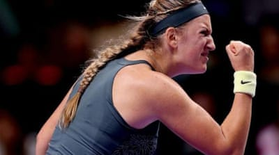 Her finger says one but is that where Victoria Azarenka will end the season? [AP]