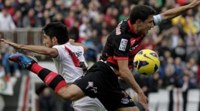 Vallecano's striker Leo Carrilho celebrates scoring equaliser against Celta Vigo [EPA]