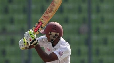 West Indies batsman Chanderpaul equalled his career best on day two against Bangladesh [AFP]
