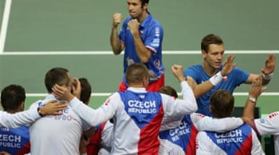 The Czech team celebrate after Radek Stepanek and Tomas Berdych doubles victory [EPA]