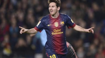 Messi performed his favourite double-act against Zaragoza in the Spanish Primera Division [AP]