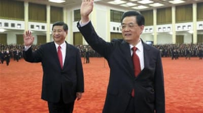 President Hu Jintao (R) handed over the reigns to Xi Jinping, newly-elected head of the Communist Party [Reuters]