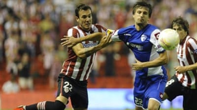 Hapoel Kiryat Shmona and Athletic Bilbao drew 1-1 in first group match in Bilbao [AFP]