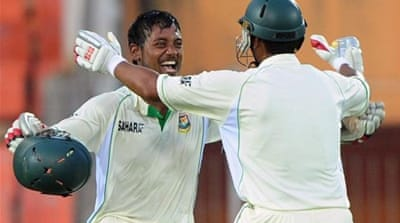 Debutant Abul Hasan (L) leads the fightback from the tail-end against the West Indies in second Test [AFP]