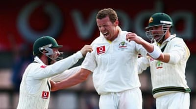 Siddle (front) finished the match with figures of nine wickets for 104 as Australia won first Test in Hobart [GETTY]