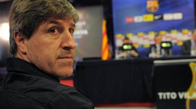 Tito Vilanova (L) and Jordi Roura (R) were both assistants under former boss Pep Guardiola [EPA]
