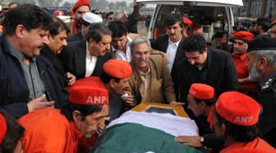 Bilour was killed when a suicide bomber struck as 100 ANP party members gathered in northwest Pakistan [AFP]