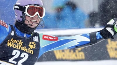 Tina Maze (pictured) is 187 points clear of American Lindsey Vonn, who has won four Alpine World Cup titles [Reuters]