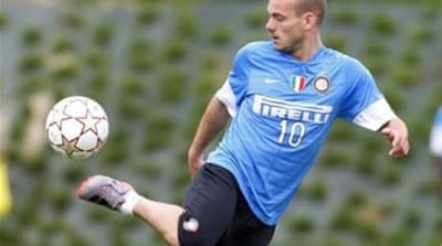 Midfielder Sneijder Wesley is unhappy with the contract offered by Inter Milan [AP]