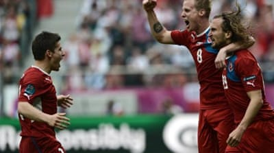 Petr Jiracek (L) celebrates putting the Czech Republic ahead of Greece inside three minutes [EPA]