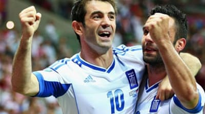 Karagounis scored a goal that gave the Greeks something to cheer about [GETTY]