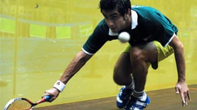 Aamir Atlas Khan (R) will be trying to lead the revival of Pakistani squash at Asian Masters [AFP]