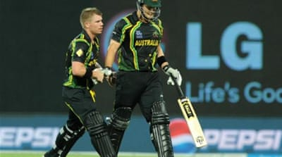 Warner (L) and Watson (R) put on a ruthless batting display against a poor India side [AFP]