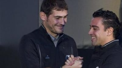 Rivals in the league, team mates for their nation, Xavi (L) and Casillas are honoured for sporting contribution [AFP]