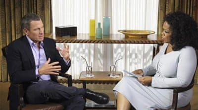 Oprah said Lance Armstrong 'met the moment' during an interview that will be aired on Thursday [AP]