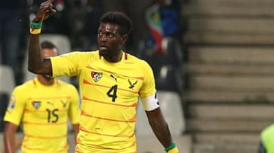 Emmanuel Adebayor pestered Tunisia all night to ensure Togo qualified to quarters for first time [AP]