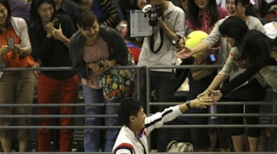 Nishikori became the first Japanese player to win the Japan Open defeating Milos Raonic in October 2012 [AFP]
