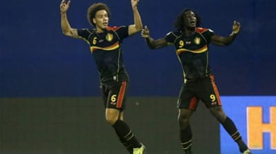 The Belgiums are coming! Scorer Lukaku rightly leads celebrations as Belgium qualify for World Cup in Zagreb [Reuters]
