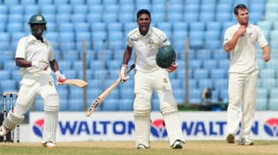 Bangladesh's Sohag Gagi celebrates scoring his first century as Bangladesh reply with 501 all out [AFP]
