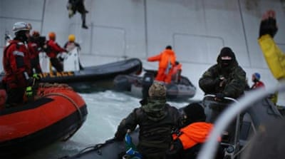 Greenpeace activists climbed the Prirazlomnaya oil platform in the Arctic to protest against drilling [EPA]