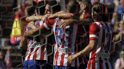 Atletico's Brazilian striker Costa (R) has scored more goals than both Lionel Messi and Cristiano Ronaldo [AFP]